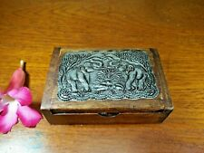 Wooden Box Name Card Holders Handmade Vintage Style Elephants
