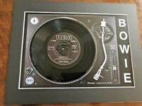 """David Bowie - Fashion - Genuine  7"""" Single Mounted on Record Player Print"""