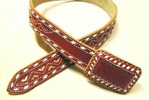 Western Mexican Cowboy Rodeo Laser Cut Hand Crafted Leather Belt