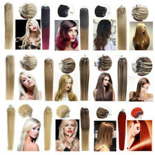 Hot 16-26inch 8A Remy Human Hair Extension 100S Micro Ring Loop Bead full head