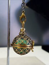 Polished Brass & Turquoise Harmony Chime Ball Angel Caller Pendant with Chain