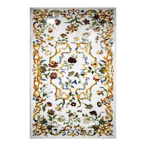 "48"" x 30"" Marble Table Top Inlay Floral semi precious stones Handmade Home Decor"