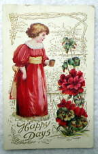 HAPPY DAYS POSTCARD GIRL RED DRESS CUP FLOWERS CUTE #4E