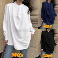 UK Womens V-neck Ladies Asymmetric Loose Summer Tunic Top Shirt Blouse Size 8-26