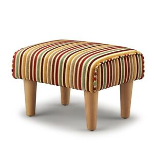 Biagi Upholstery & Design Red Green Gold Luxury Chenille Footstool
