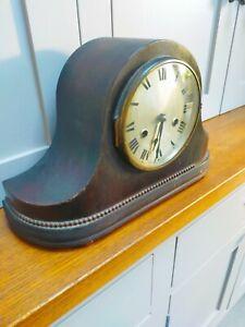 Vintage chiming wooden case mantle clock