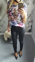 NEXT TOP SHIRT BLOUSE SHEER FLORAL FLOWERS SHORT SLEEVE TRANSPARENT SIZE 12 40