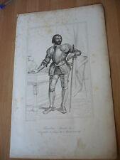 CHARLES DE BOURBON  CONNETABLE DE FRANCE EN 1515 GRAVURE 19°
