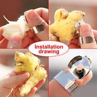 2*Silver Stainless Steel Kitchen Gadget Garlic Ginger Cutter Peeler Tools Unisex