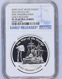 2016 ships that never sailed HMS Thunder Child silver proof 1 oz coin NGC PF 70