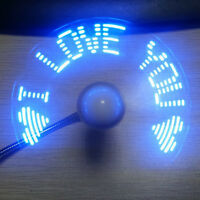 Gift LED Clock Fan Mini USB Powered Cooling Flashing Real Time Display Function