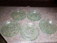 Vintage Depression Green Glass Dessert Plates Saucers Dish Pattern