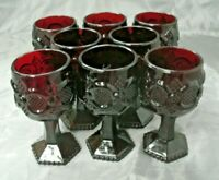 """Avon CAPE COD 1876 Ruby Red Collection Set of 8-4 5/8"""" Wine Goblet Glasses EC"""