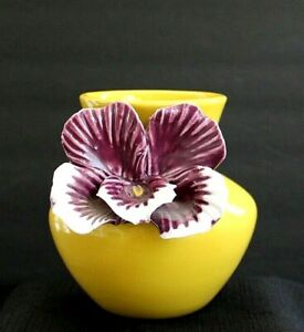 """Anthropologie Yellow 4.75"""" Ceramic Vase with Applied Purple Pansy Flower"""