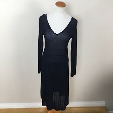 Anthropologie Sparrow Pointelle Navy Blue Wool Blend Knit Sweater Dress Sz Small