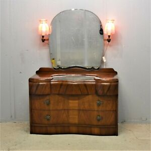Vintage dressing table with drawers lights walnut finish delivery available