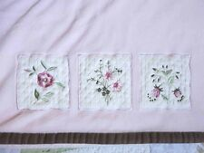 Kidsline 3 Appliqued Quilted Squares w Embroidered Flowers Baby Girl Blanket EUC