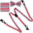 New in box Convertible Elastic Suspender Braces Bow tie  Hankie Coral Black