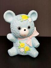"Inarco Japan Ceramic Planter Baby Shower Nursery Décor Blue Teddy Bear VTG 6"""