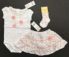 NWT Gymboree Little Rome 6-12 Ribbon Rosettes Bodysuit Polka Dot Skirt & Socks