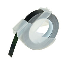 3PK Dymo Embossing Tape Self-Adhesive 9x3mm White Print on Black Refill