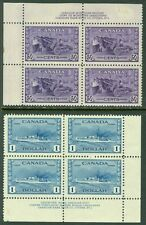 EDW1949SELL : CANADA 1942-43 Unitrade #261-62 Plate Blks of 4. VF MNH Cat $1,260