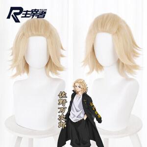 Anime Tokyo Revengers Manjiro Sano Mikey Yellow Short Wig Cosplay Hair 35cm