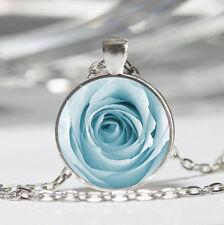 Blue Rose Tibet silver Dome Glass Cabochon Necklace chain Pendant #54