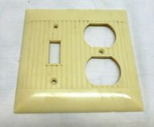 Vintage Combination Light Switch Double Outlet Cover Plate Bakelite Ribbed