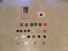 NAZI DEATH CARD 1945 Swastika STAMP & COIN 1943A 1935 1930 1936 Nazi France 1876