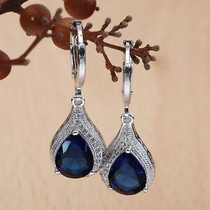 New Women Jewelry 925 Silver Sapphire Gems Dangle Drop Hoop Earrings Wedding