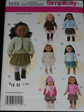 """18"""" American Girl Doll Clothes Skirt Top Hat Boot Simplicity 1515 Sewing Pattern"""