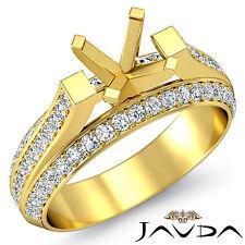 Vintage Pave Diamond Anniversary Ring 14k Yellow Gold Round Semi Mount 1.40Ct