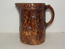ANTIQUE 1860's CIVIL WAR ERA MAGELLICA BROWN GLAZE PITCHER-PHEASANTS DESIGN