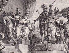 Gravure XVIIIe Childeric Déposition 752 Mérovingien Pape Zacharie Pépin le Bref