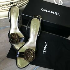 CHANEL golden black sequin camellia iconic heels sandals all leather size 39 / 6