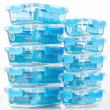 10-Pack[34oz+12oz]Glass Food Storage Containers, Lunch Boxes with Lid