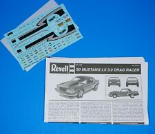 Revell 1990 Ford Mustang LX 5.0 Drag Racer Decals and Instructions 1/25 Scale