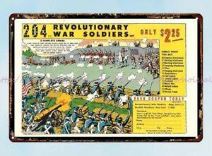 Revolutionary War Playset 1976 yoy ad metal tin sign farm house art