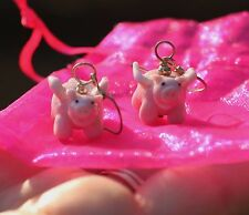 "Kate Spade small ""Gumdrop Gem"" happy pink gold Stud Crystal Earrings & PIGS FLY"