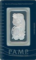 1 Troy oz PAMP Suisse Lady Fortuna .999 Fine Silver Bar Classic Design In Assay