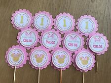 Gold Minnie Mouse Personalised Cupcake Topper-Pink & Gold~Minnie Birthday