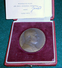 Czech table medal honoring Clement Gottwald, bronze, boxed with license