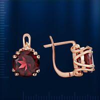 Ohrringe mit großem Granat 10mm rose Rotgold 585 elegante Neu Glänzend