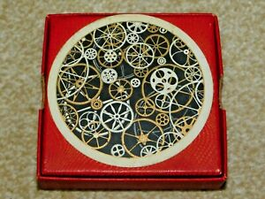 WADDINGTONS RONDO CIRCULAR PLAYING CARDS STEAMPUNK BLACK GOLD WHITE COGS c1950's