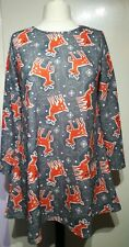 Want That Trend Grey Reindeer Print Christmas Dress Size XL Stretch