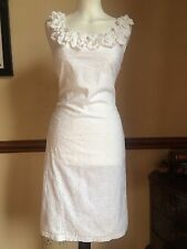 Beautiful Fitted Bodycon White Shift Dress 8 Wedding Races Boho Vintage Gypsy