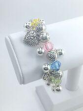 Heart Charms Stretch Bracelet w Silver Plated Beads Style 1 - BULK 12 PCS