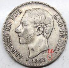 ESPAÑA ALFONSO XII 1885 *18-86 MSM 5 PESETAS MONEDA PLATA MBC