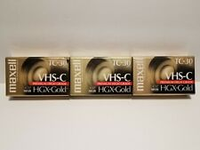 LOT OF 3 NEW MAXELL HGX GOLD VHS-C TC30 PREMIUM HIGH GRADE VIDEO CASSETTE TAPES